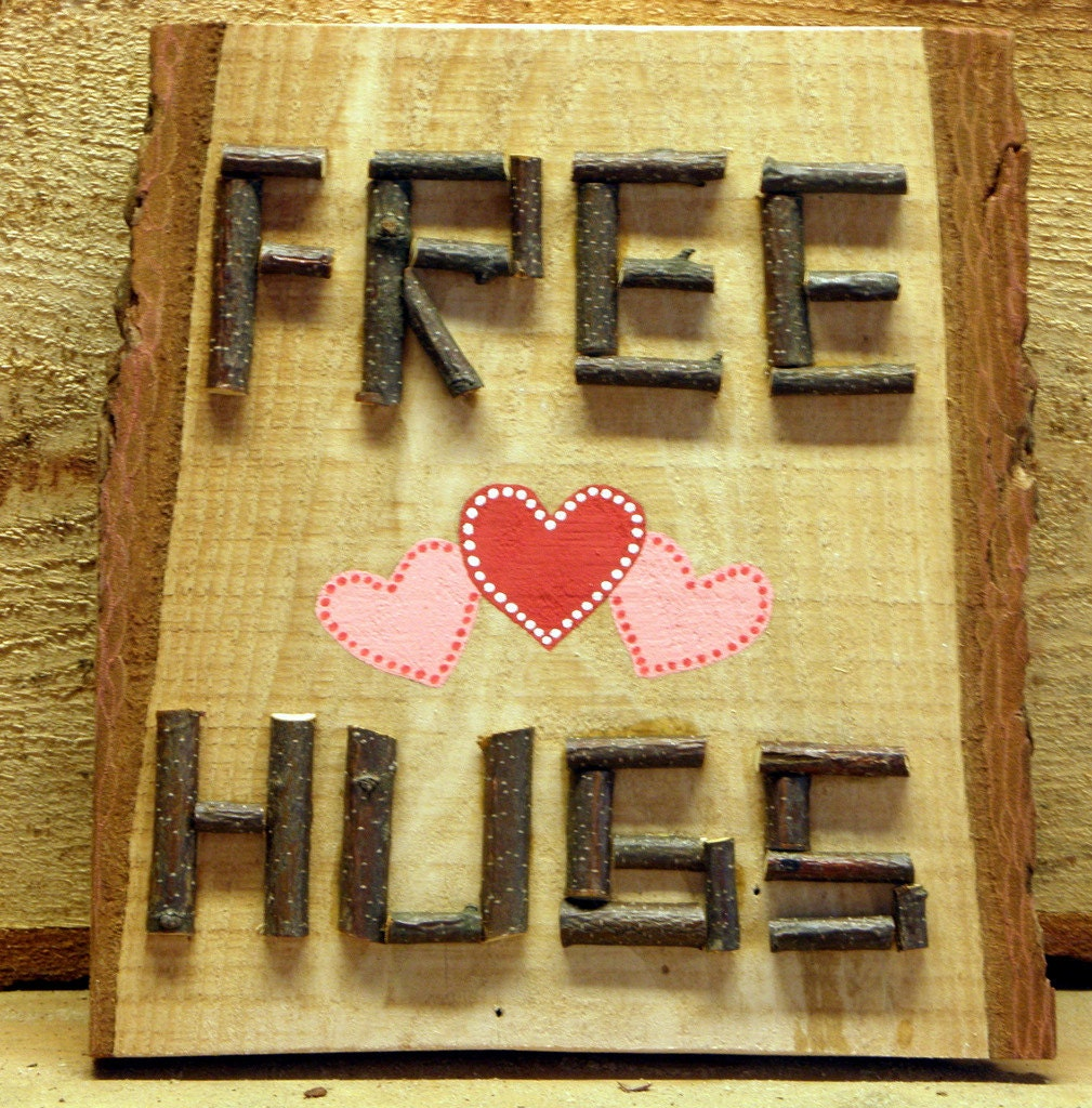 Primitive Wooden Kitchen Signs: FREE HUGS Mom Sign Country Decor 3D Wood By TheRusticWoodshed