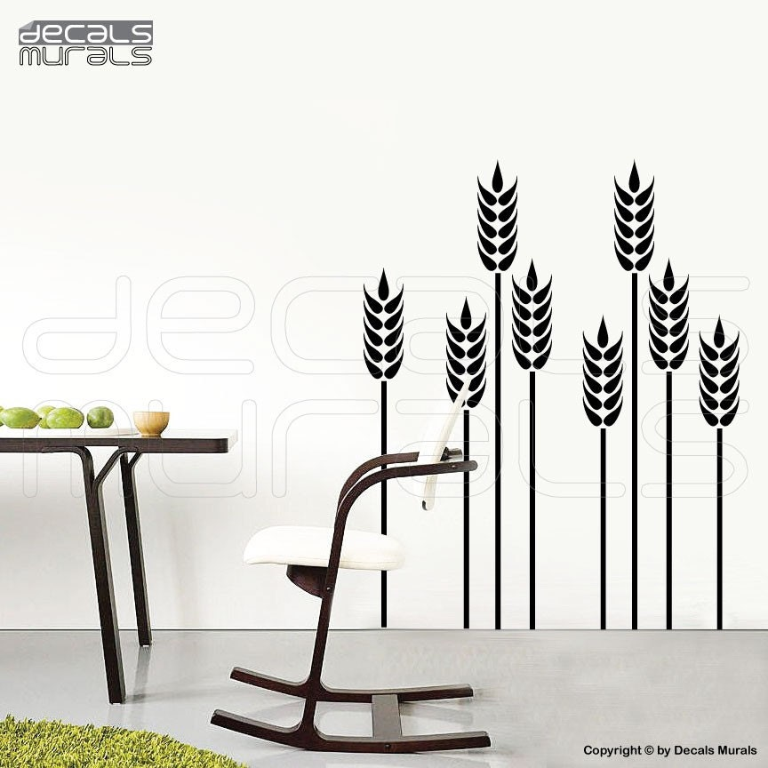 Wall Decals WHEAT GRASS Vinyl Art Stickers Decor By