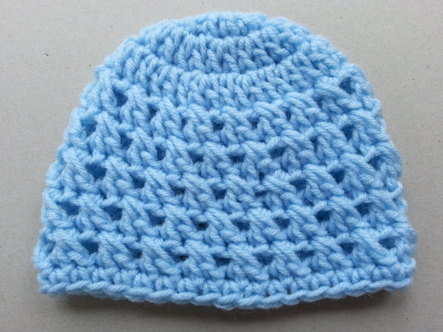 Baby Blue Baby Beanie Hat - CindyLouiseDesigns