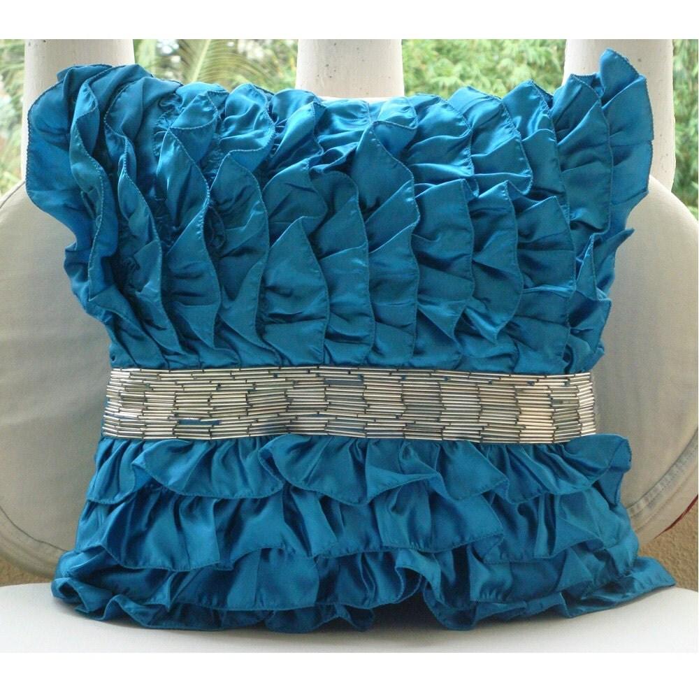 Royal Blue Гламур - Бросьте наволочки - 16х16 дюймов атласные подушки крышки с оборками и блестками труб