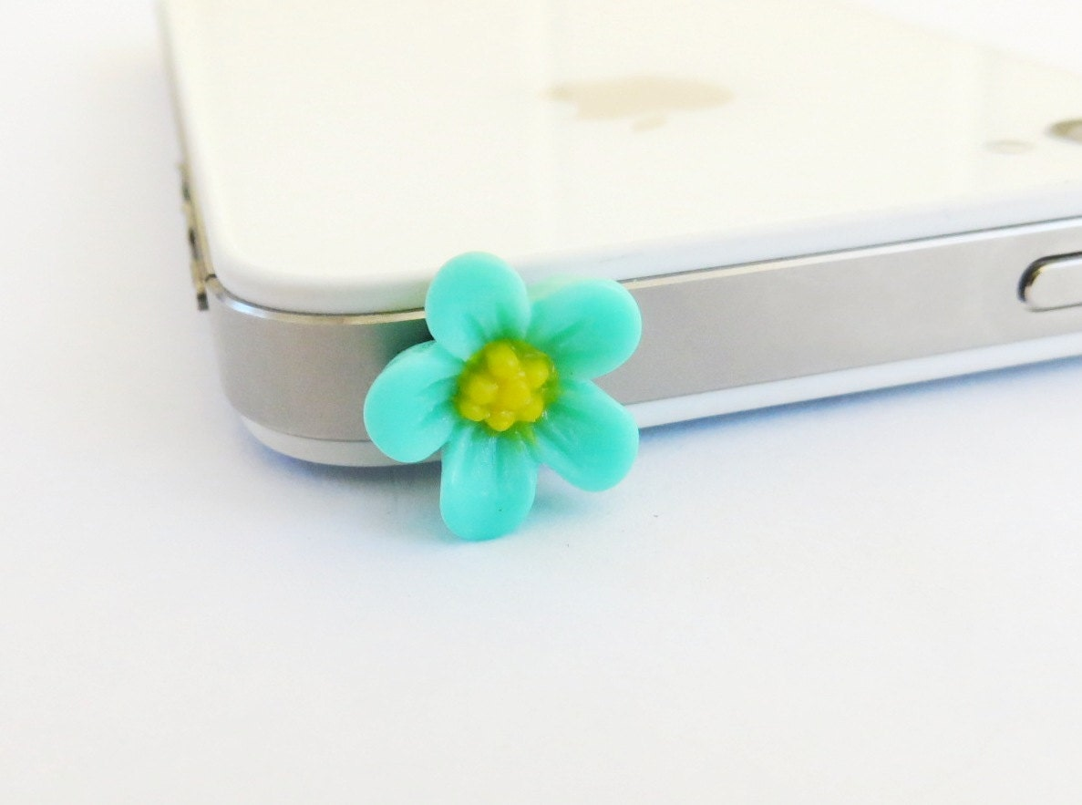Aqua iPhone Dust Plug Flower- Anti-Dust Plug For Headphone Jack- Cellphone/ iPhone Accessories- Aqua Japaneses Blossom - BellaMantra