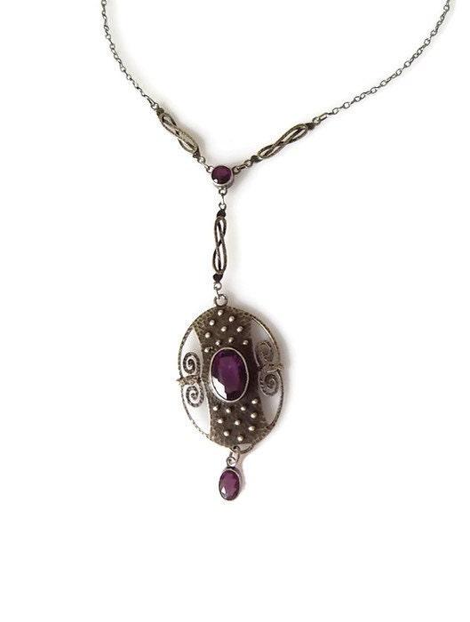 Arts  Crafts Jugendstil Theodor Fahrner Silver Amethyst necklace Fine jewellery Gift for Her