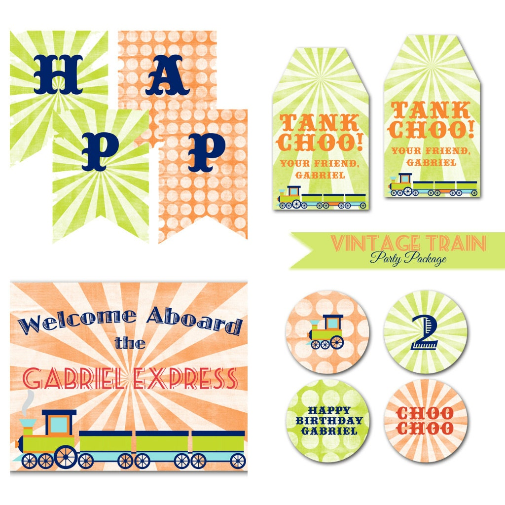 Items Similar To Vintage Train Birthday Party Package. DIY