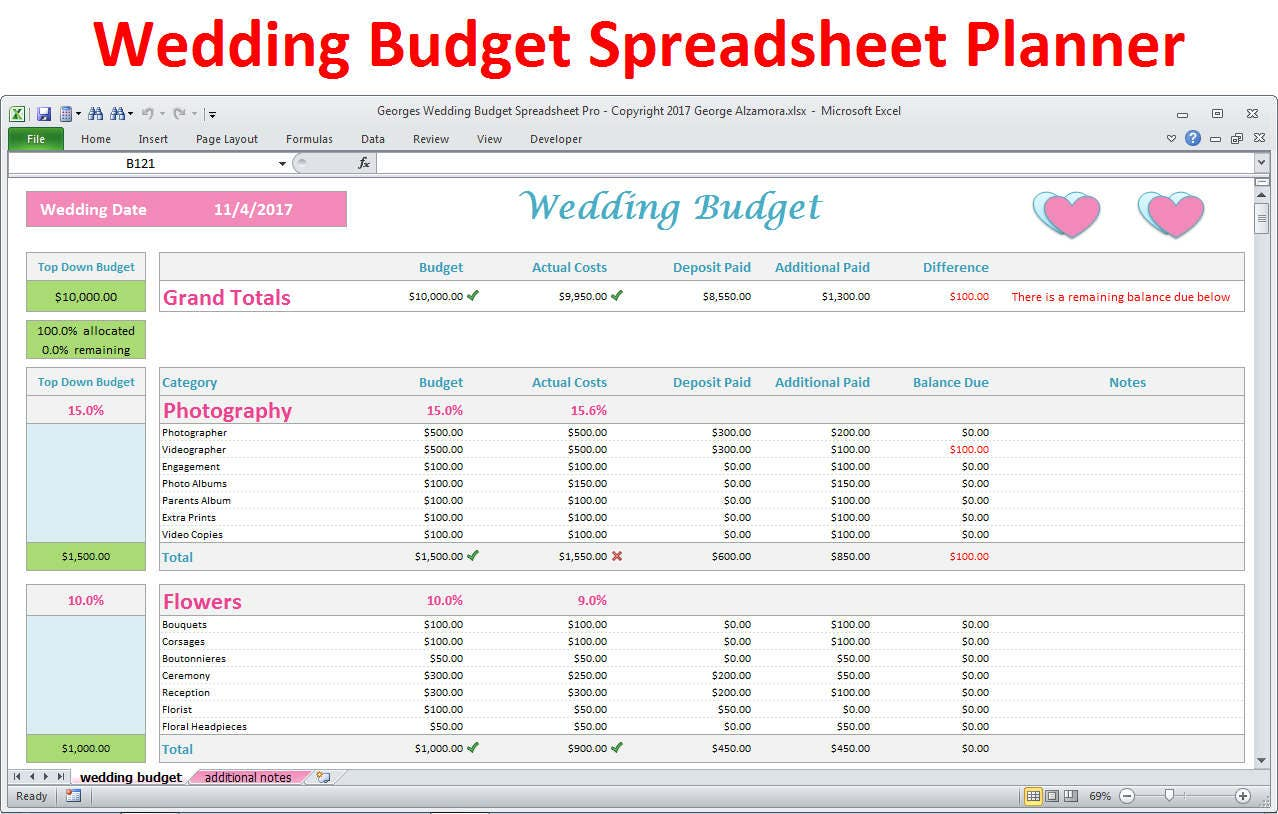 Wedding budget planning spreadsheet