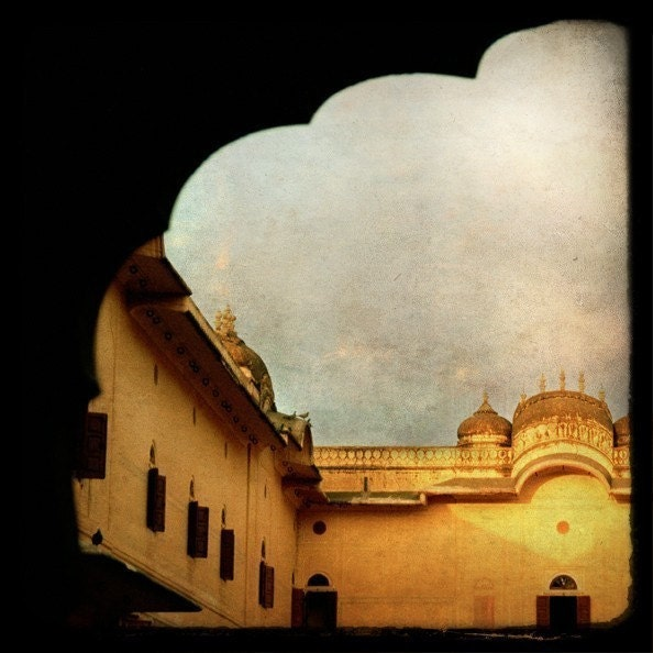 Architecture I, Indian castle in ochre tones - Fine Art Photograph - janeheller