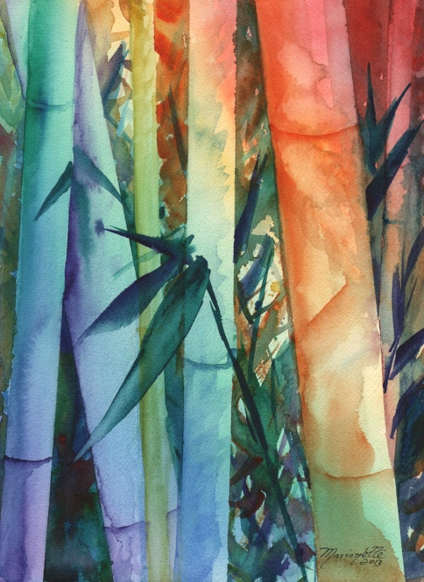 Rainbow Bamboo 2 Original Watercolor Painting of Tropical Foliage from Kauai Hawaii by Marionette - kauaiartist