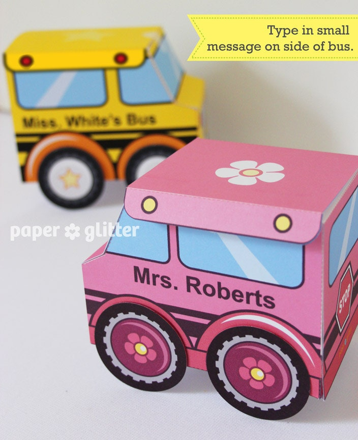 School Bus Favor Box Truck Paper Craft Toy for back to school or end of year activities - Editable Text Printable PDF - 0111 - paperglitter