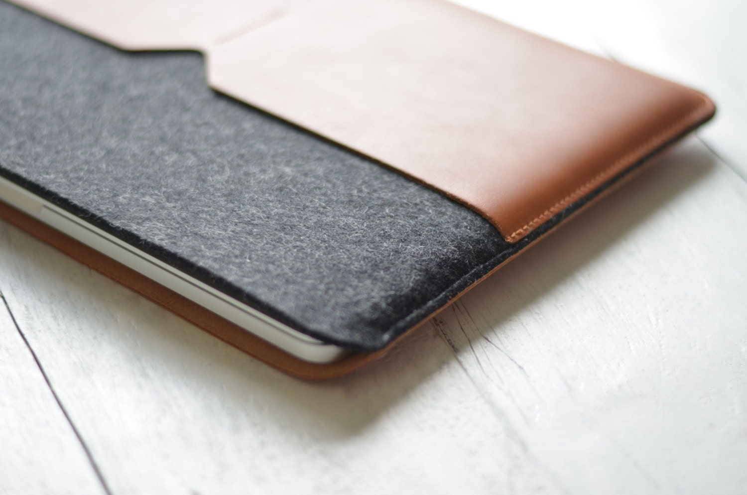 13 MacBook Air  Black Edition Leather Sleeve Case and Wool Felt Laptop Cover Handmade
