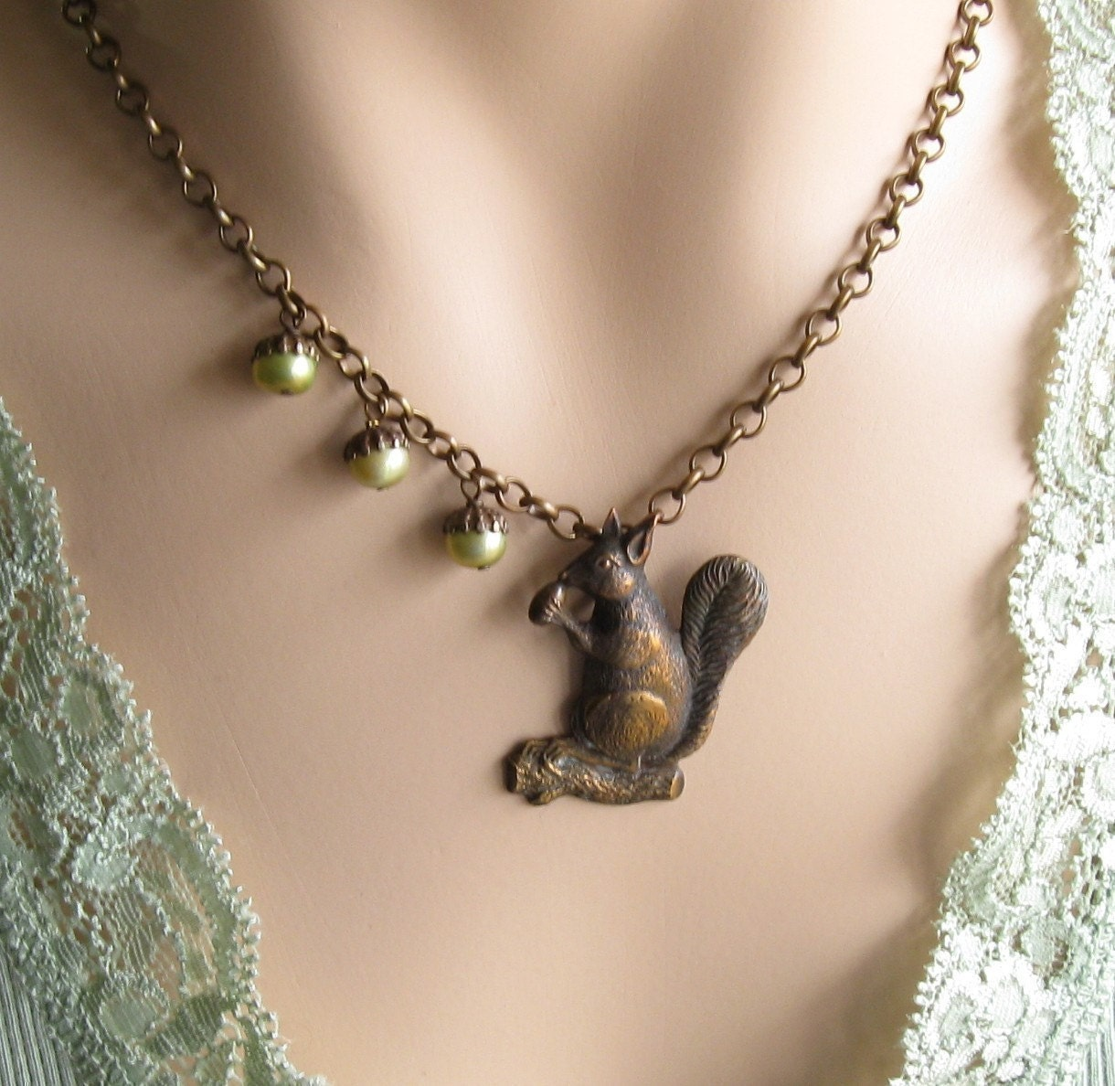Squirrel Necklace with Three Pearl Acorn Nuts           tbteam