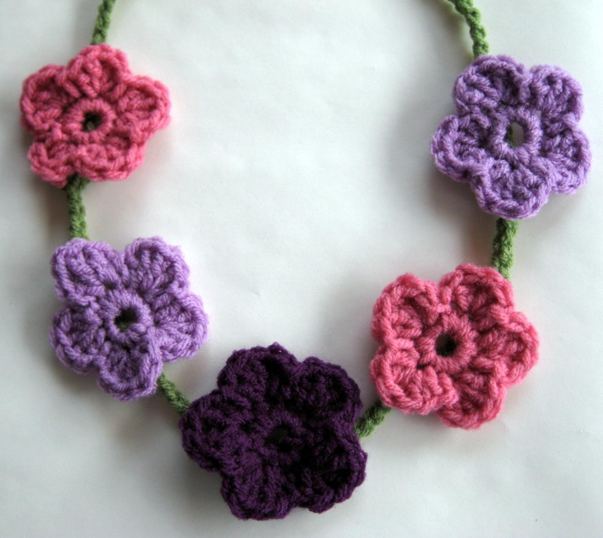 Crochet Flower Necklace By Flutters On Etsy