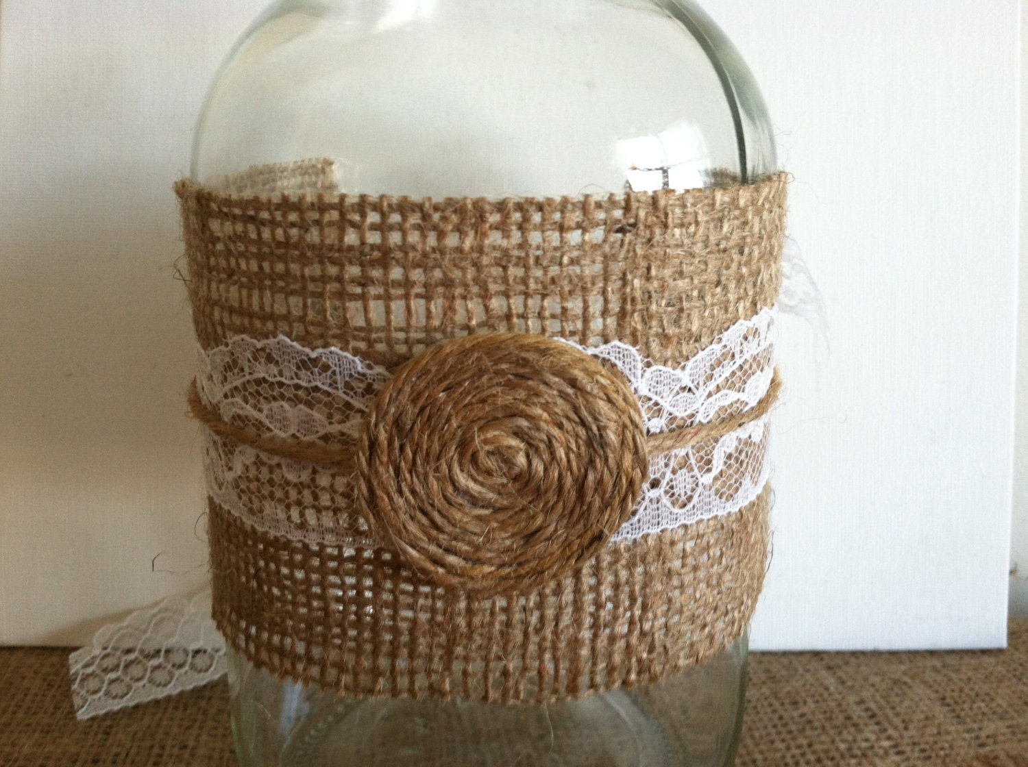 Mason Jar Wraps in Burlap, Lace and Twine, Set of Five