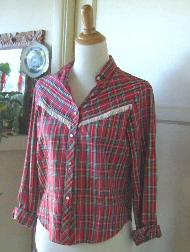Vintage Red Plaid Western Shirt With Fringe By