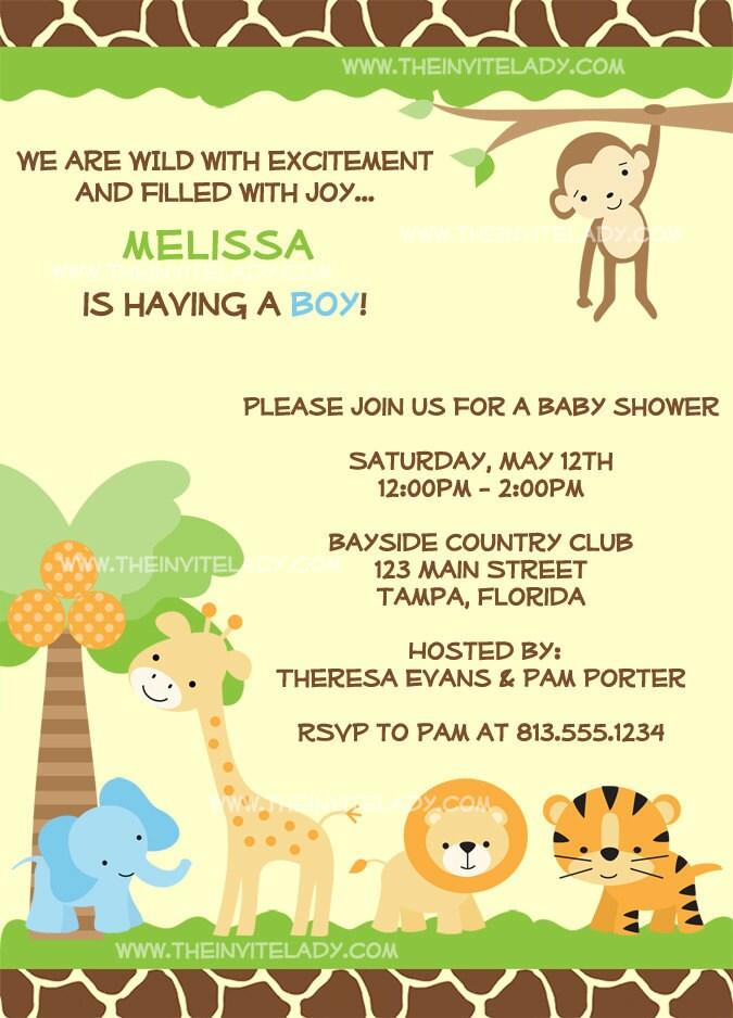 items similar to jungle baby shower invitations safari zoo theme