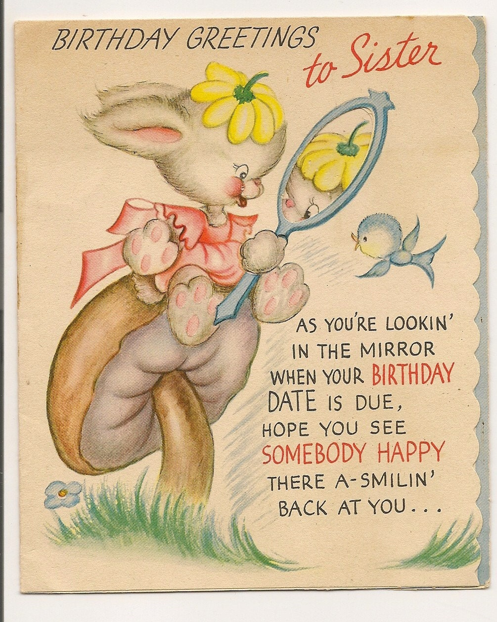 Vintage Birthday Wishes For Sister ~ Vintage birthday greetings card to sister by myramelinda on etsy
