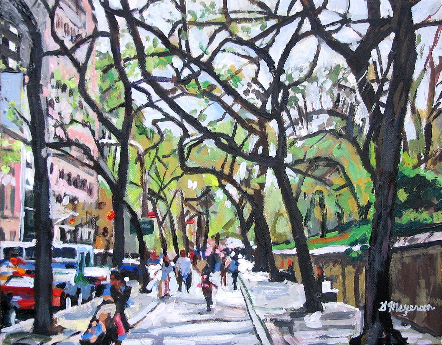 "Spring Fine Art Print 8x10, ""Trees On Fifth Avenue"" New York City Cityscape Green Brown Painting by Gwen Meyerson"
