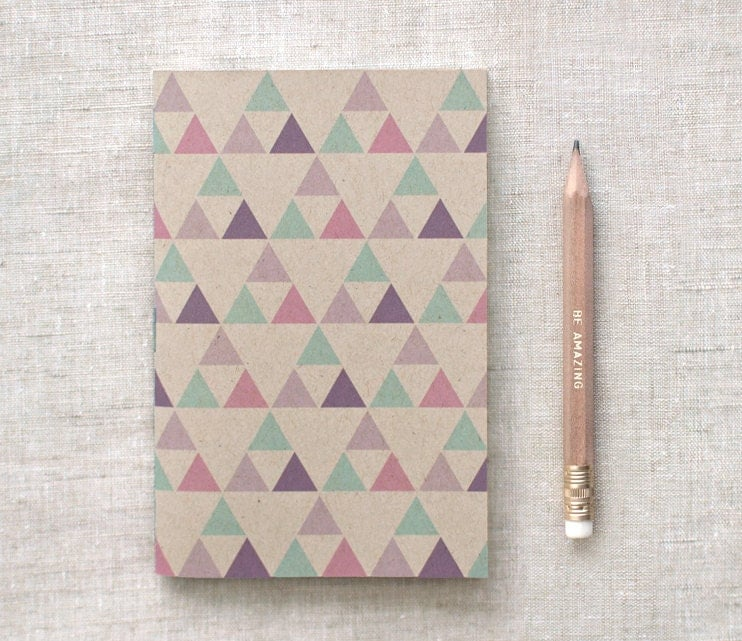 Recycled Mini Notebook with Pencil, Brown Sketchbook - Geometric Patterns, Stocking Stuffer - HappyDappyBits