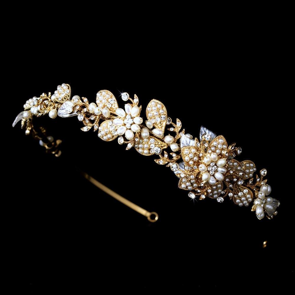 Gold bridal headband, Gold flower headband, Gold wedding headpiece, Bridal headpiece, Freshwater pearls - TheExquisiteBride