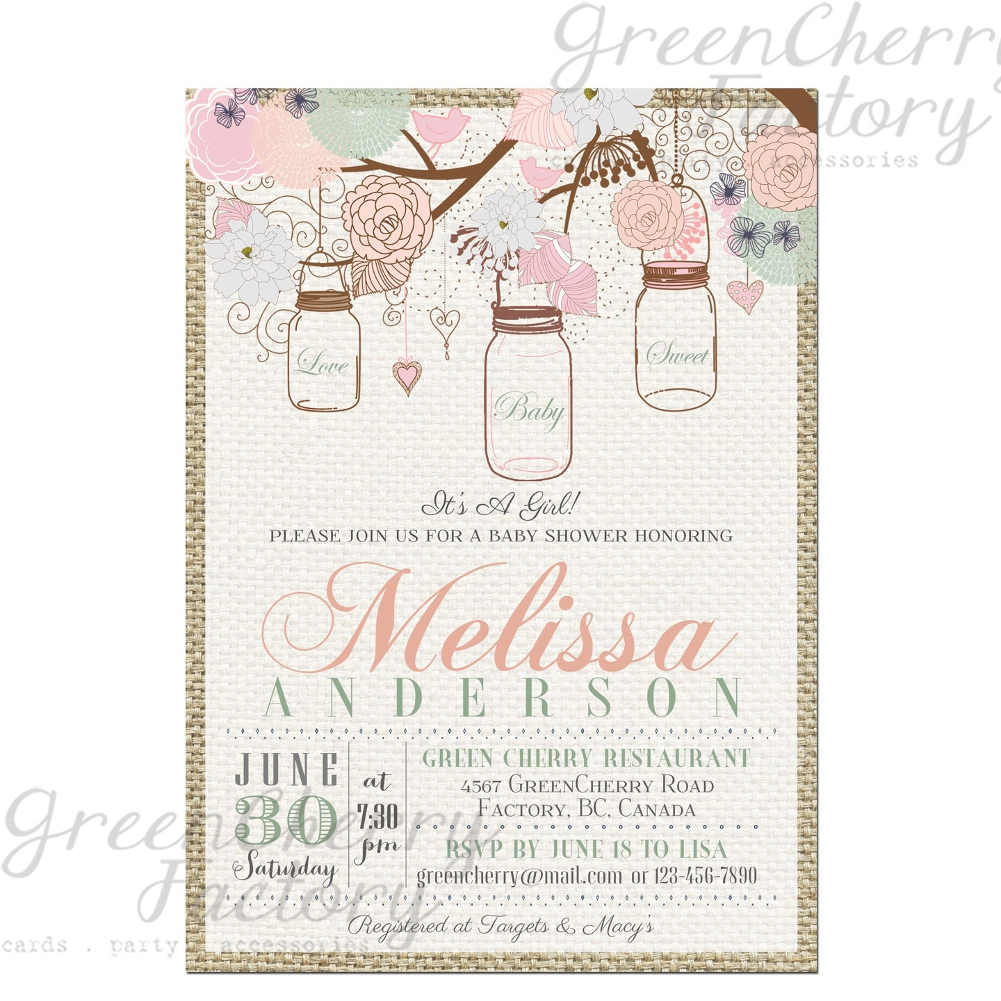 items similar to vintage mason jar baby shower invitation burlap