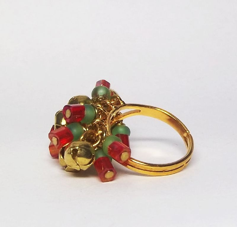 Team Fest Yule Basket Giveaway RESERVED -  adjustable gold plated cocktail ring with red and green beads - RecreationalArt