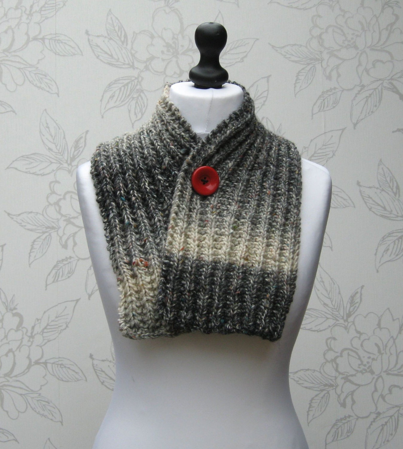 Knit Button Scarf Rib Knit Cowl Ribbed Cowl Adjustable Neck Warmer Adjustable Winter Cowl Scarf