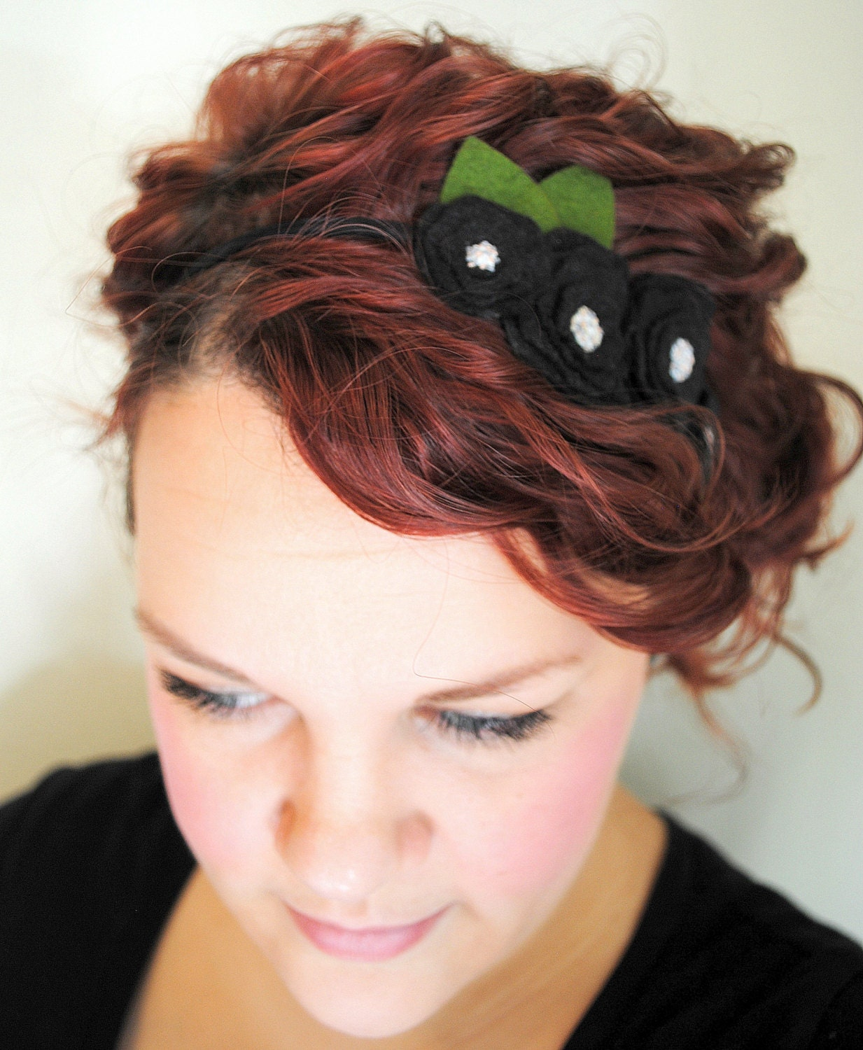 Black Flower Headband - Wool Felt Flower - Peony Headband - Statement Hair Accessory - FoldingChairDesigns