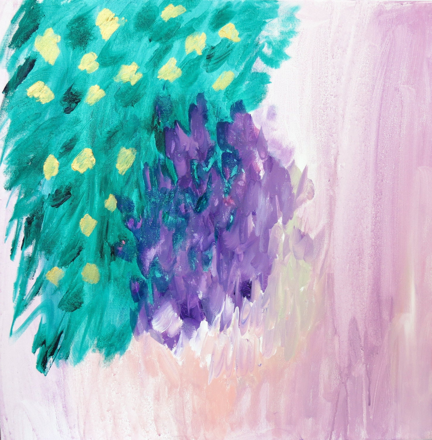 "Art Original Abstract Painting ""Wisteria"" with Purple, Pink, Emerald Green and Gold 24x24 Painting on Canvas"