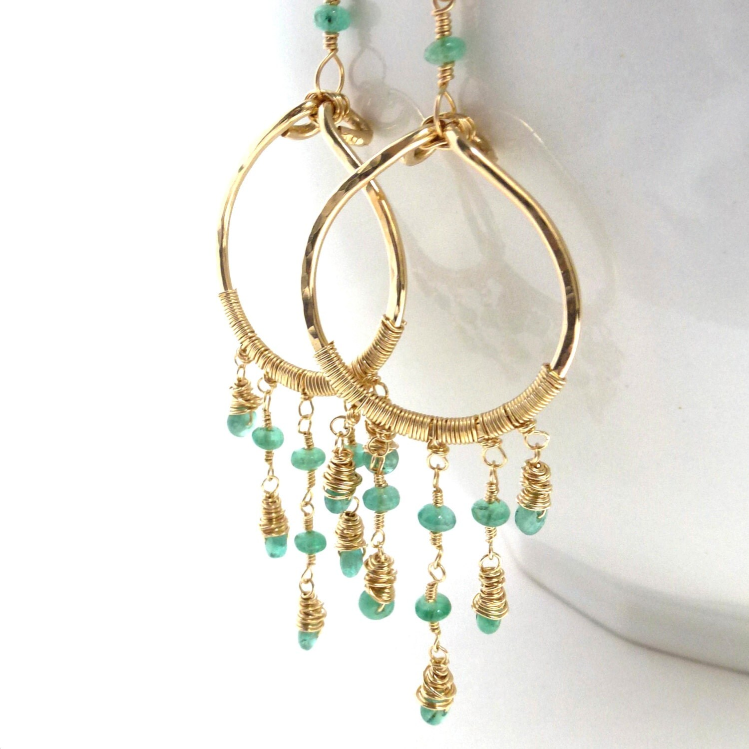 Emerald Earrings Handmade Chandelier Precious Gemstone Jewelry Gold Filled May Birthstone - LittleAppleNY