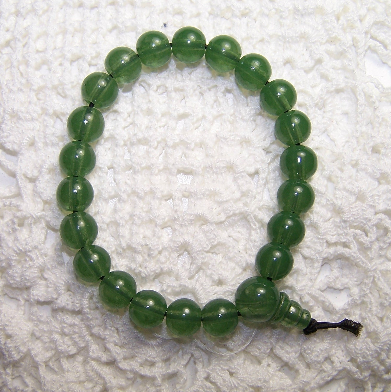 Jade Bracelet Beads: SALE Jade Colored Bead Bracelet Stretch Cord By