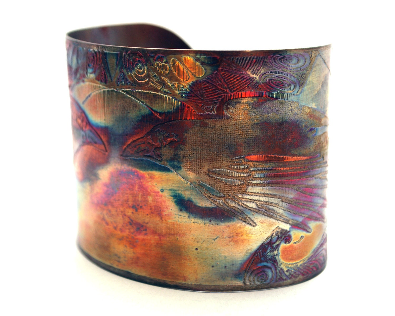 Etched copper crow raven cuff bracelet - annamcdade