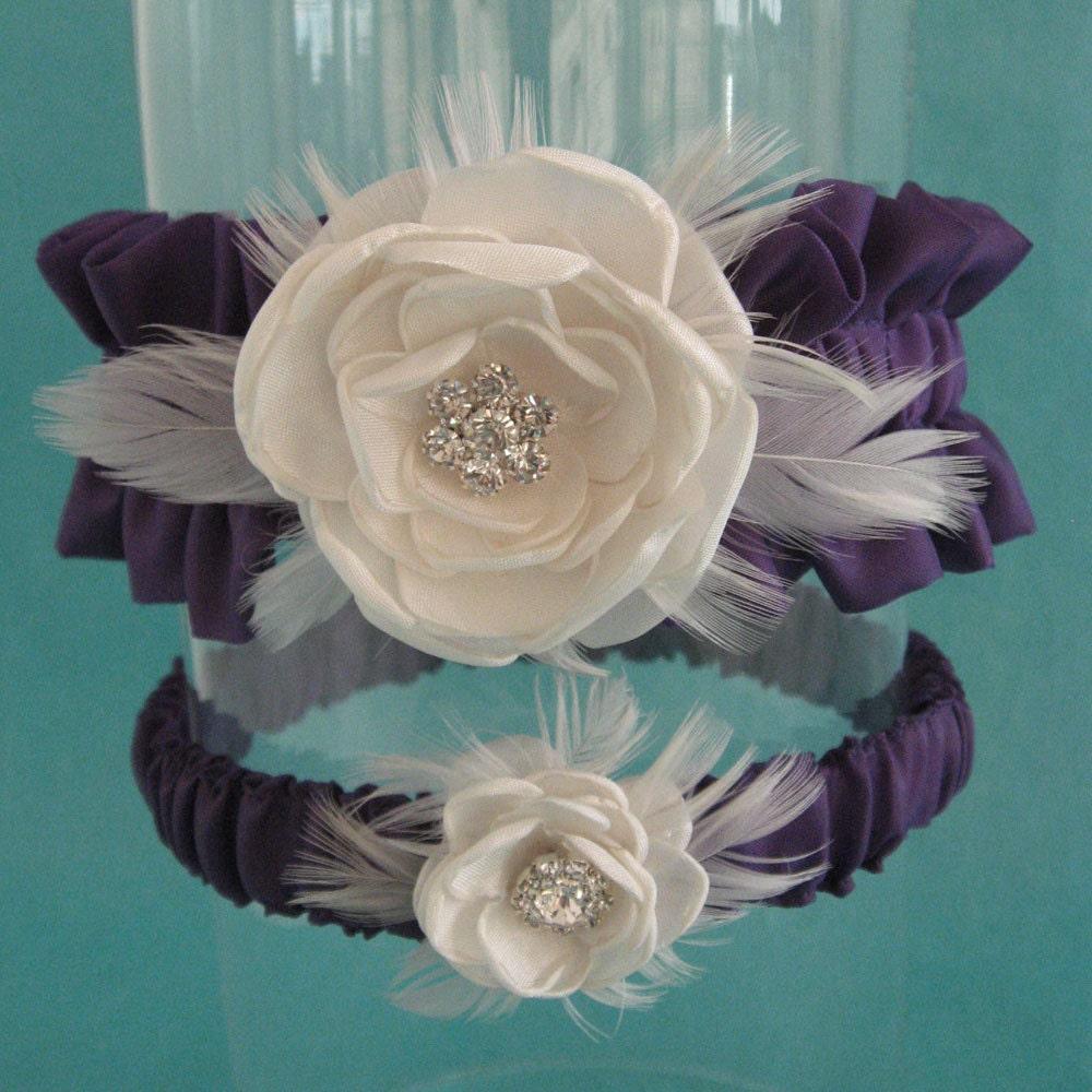 Plum Purple and Ivory Satin Feather Rose Wedding Garter Set B015 - bridal garter accessory