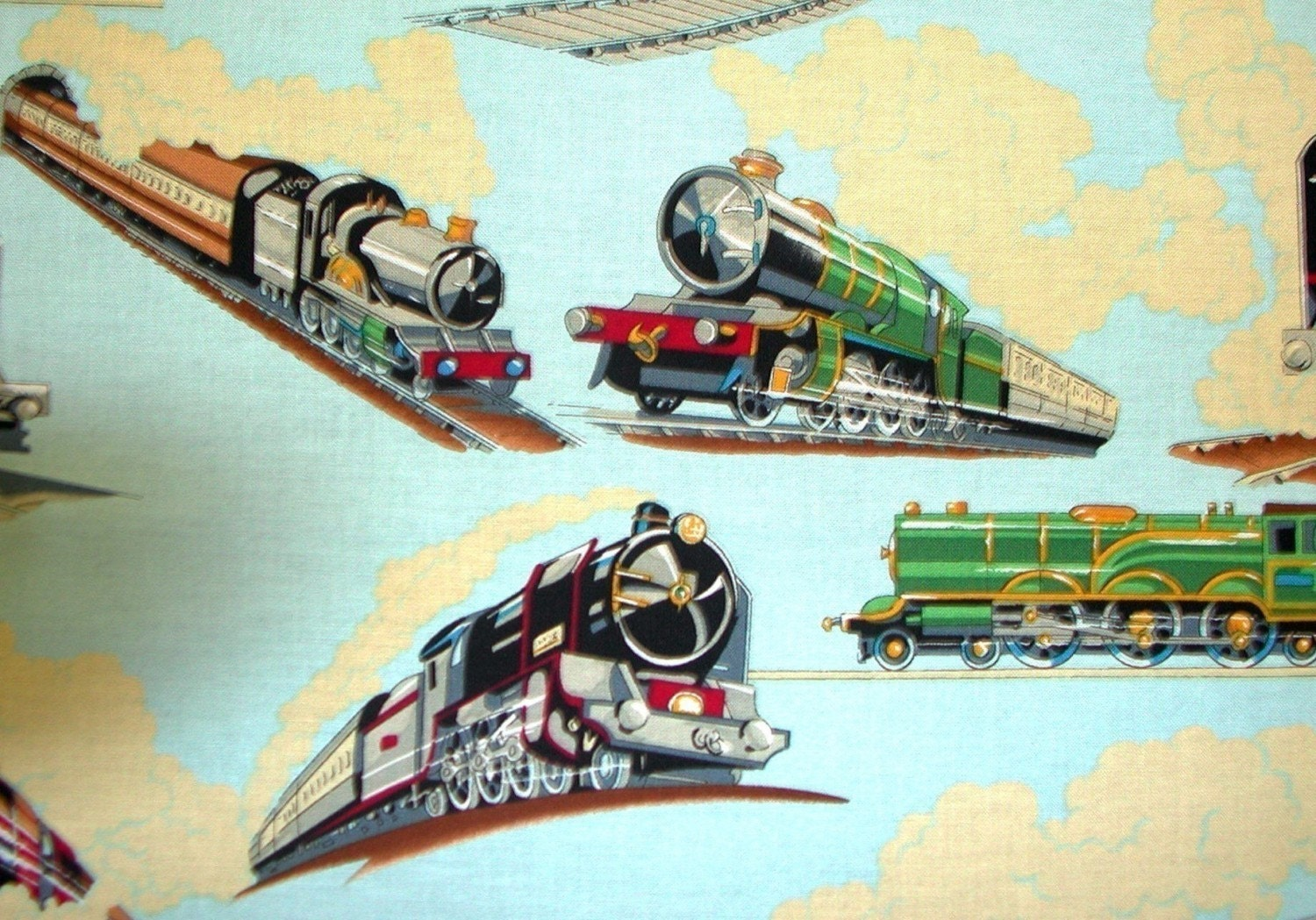 Double e train fabric by alexander henry one yard by for Train fabric by the yard