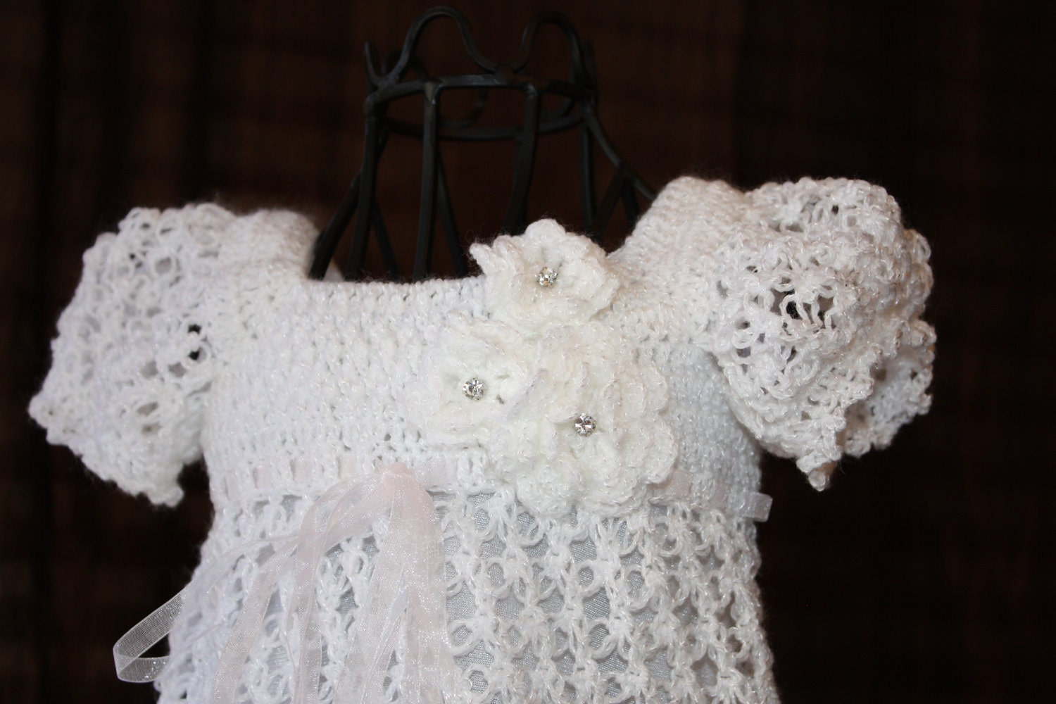 Crochet Patterns Baby Christening Dresses : The Ella Crochet Blessing / Christening by OopsieDaisyDesigns