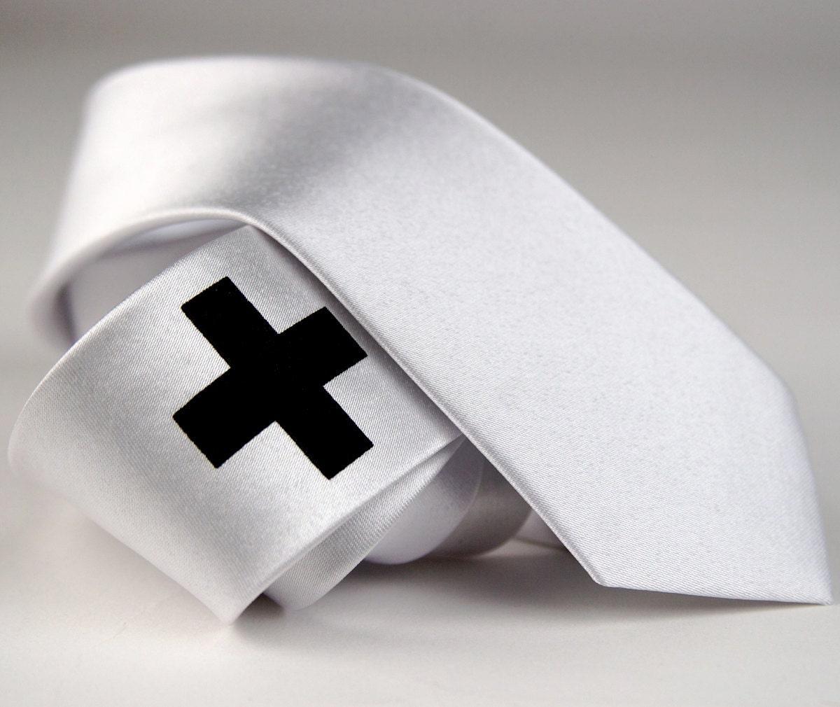 "Men's white skinny tie, ""Medic"" - screen printed necktie, cross design. Microfiber, black print. - Cyberoptix"