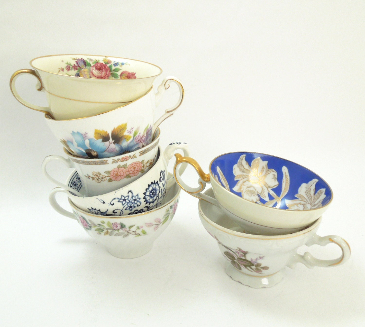 Set of 7 mismatched tea cups teacups party favors by for Teacup party favors