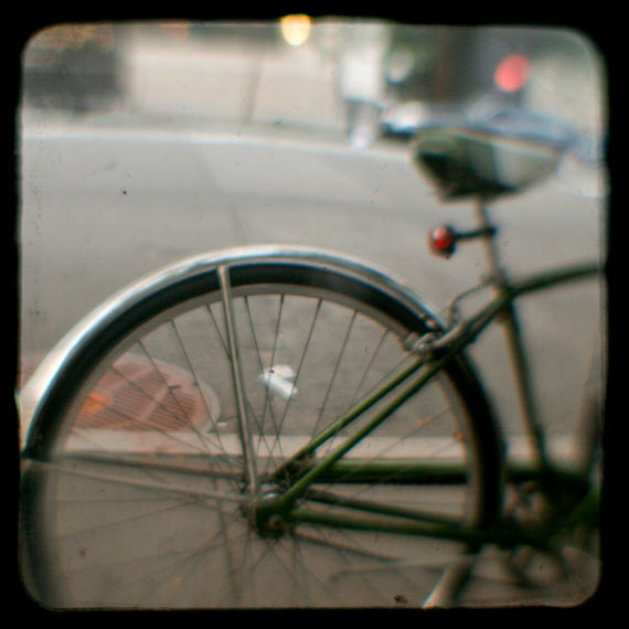 Bicycle Photo, TTV photograph, Vintage, New York photo - 8x8 fine art photograph