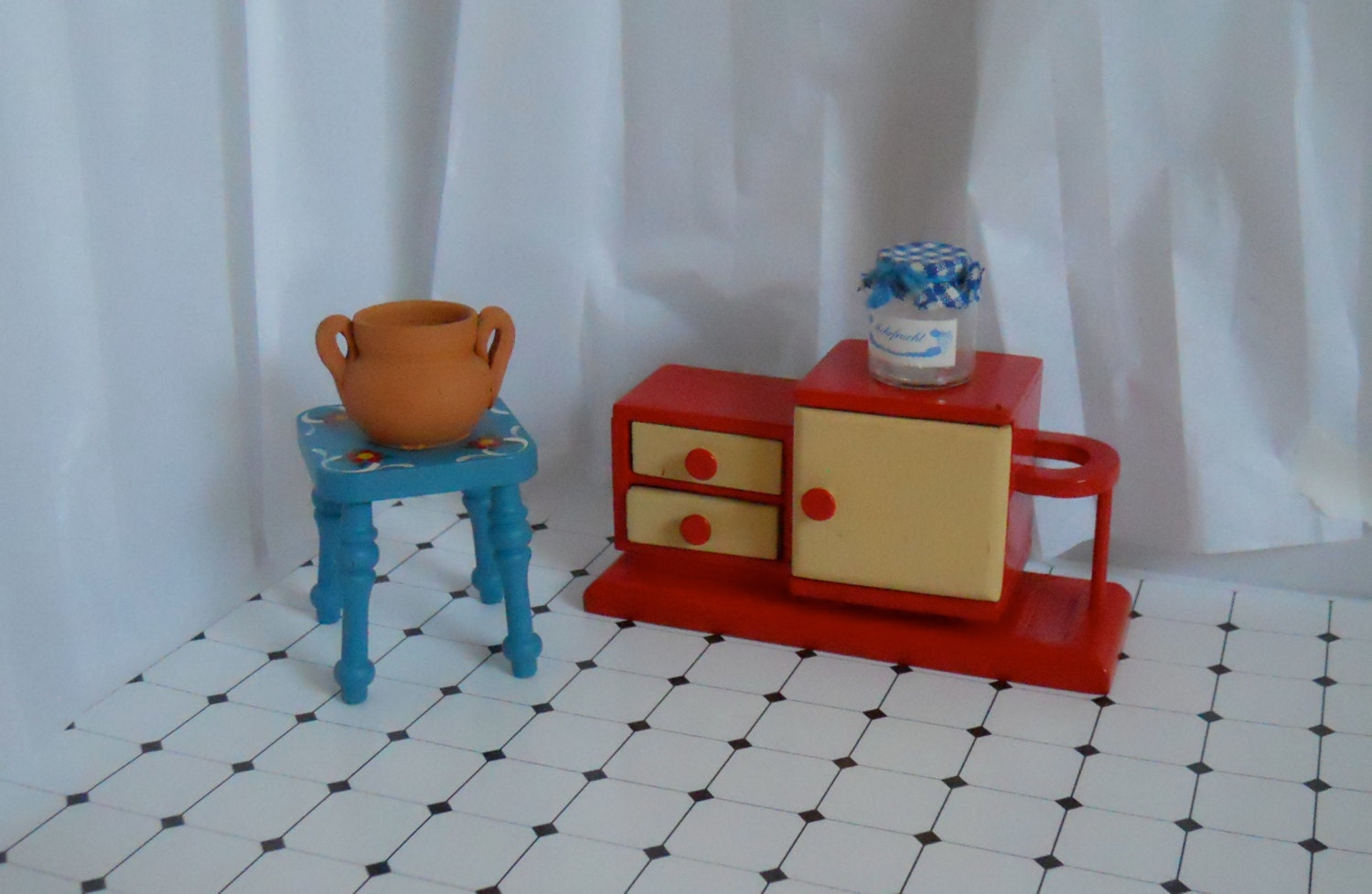 Vintage dollhouse furniture Dollhouse kitchen dollhouse cabinet Dollhouse stool Wooden doll furniture 50s dollhouse furniture