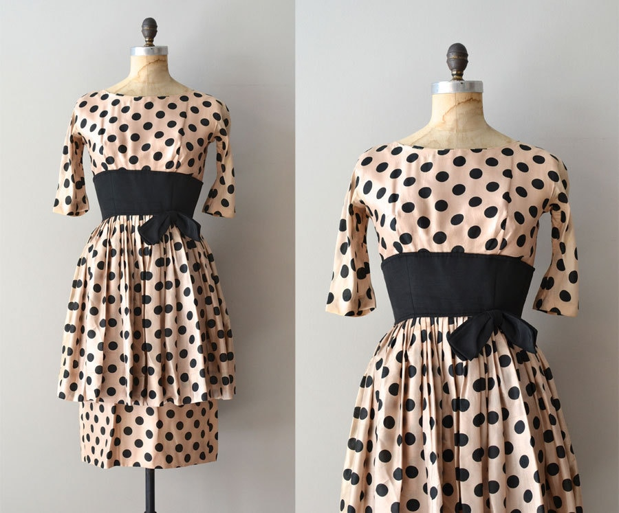 Suzy Perette silk dress / 1950s polka dot dress / silk 50s dress