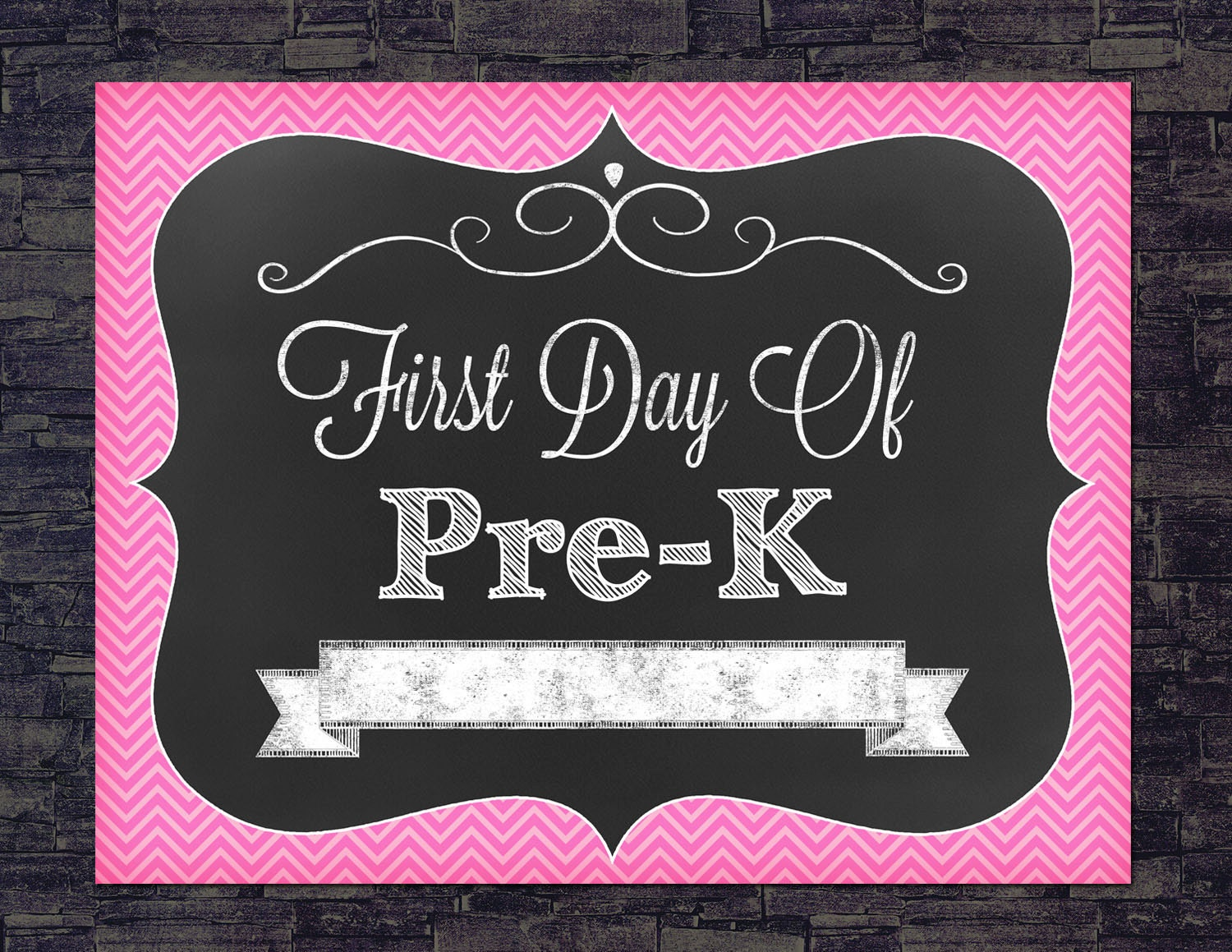It is a graphic of Vibrant First Day of Pre K Printable Sign