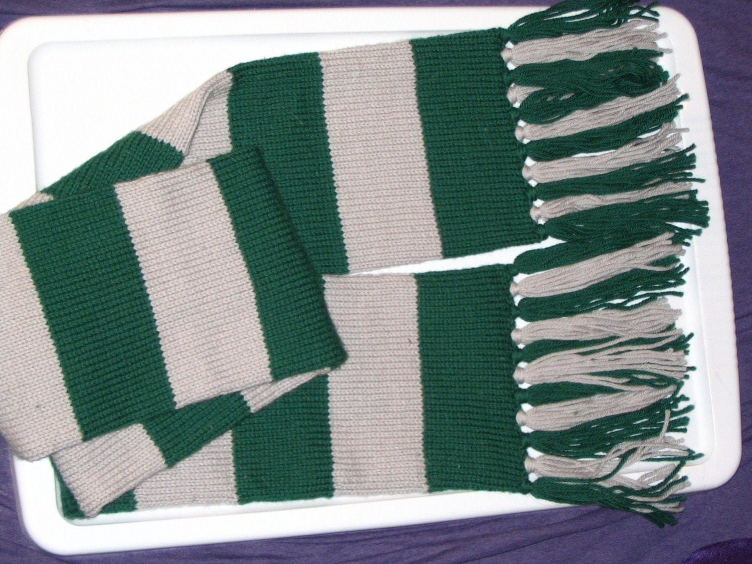 Knitting Pattern For Slytherin Scarf : Slytherin Scarf by PurpleStitching on Etsy