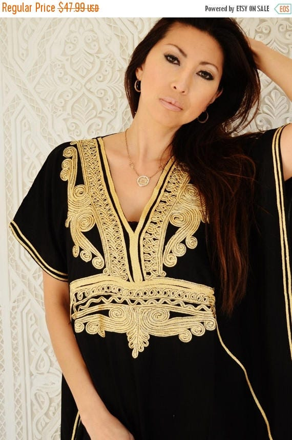 10 OFF Summer SALE  Autumn Black with Gold Marrakech Resort Caftan Kaftan  beach cover ups resortwearloungewear maxi dresses birthda