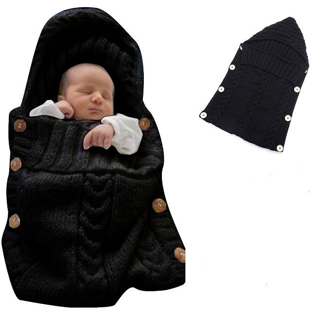 Newborn Baby Wrap Swaddle Blanket Baby Kids Toddler Wool Knit Blanket Swaddle Sleeping Bag Sleep Sack Stroller Wrap for 012 Month(Black)