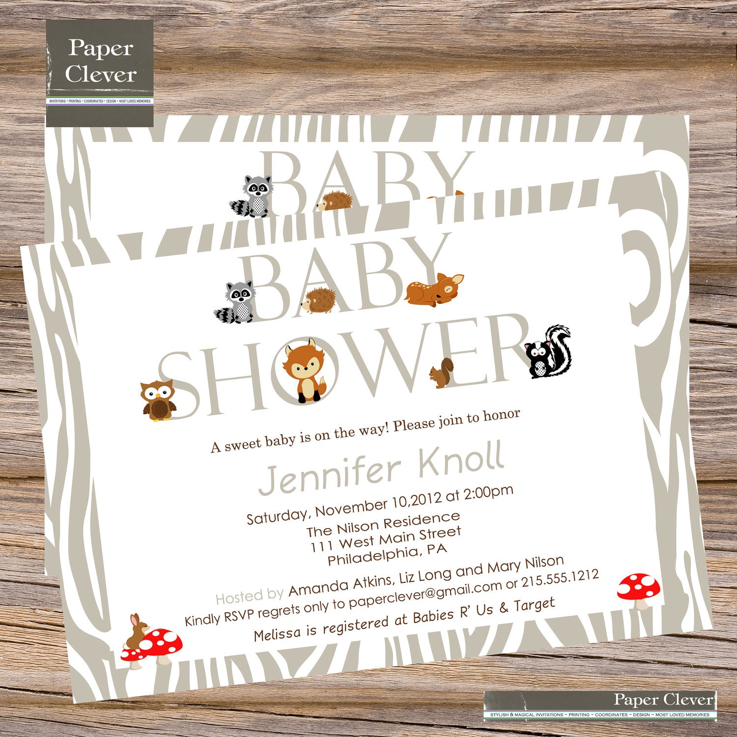 modern woodland baby shower invitation owl fox digital file