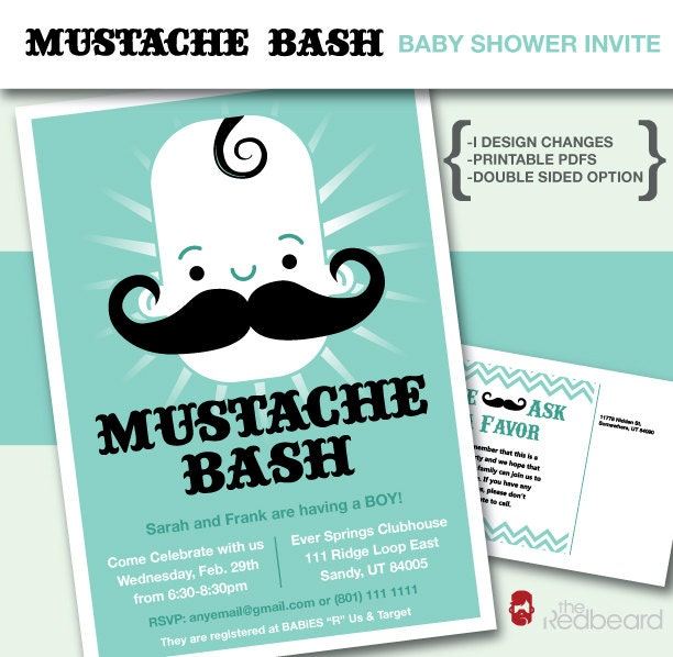 mustache bash baby boy shower invitation customizable printable diy
