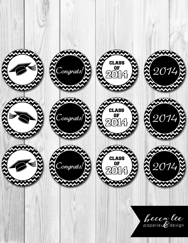 INSTANT DOWNLOAD - Cupcake Toppers - Chevron Stripe Graduation Theme ...