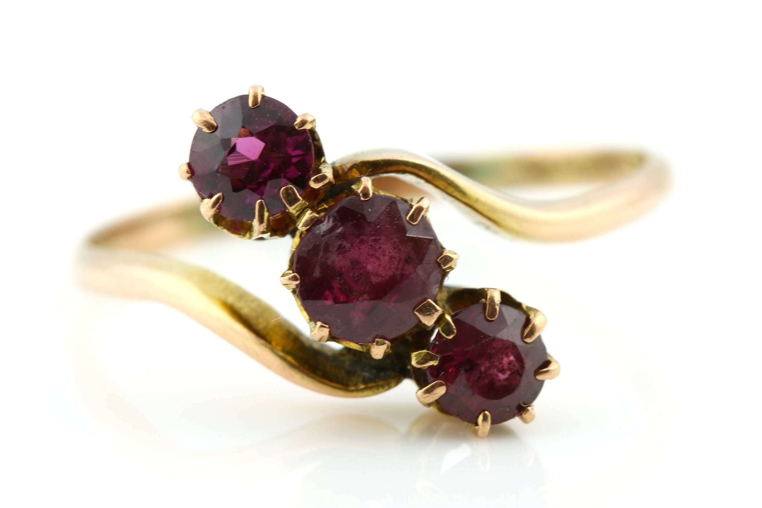 9ct Rose Gold Antique Garnet Trilogy Ring  c1900 Antique 9ct Gold 3 stone Garnet Ring Edwardian Garnet Ring