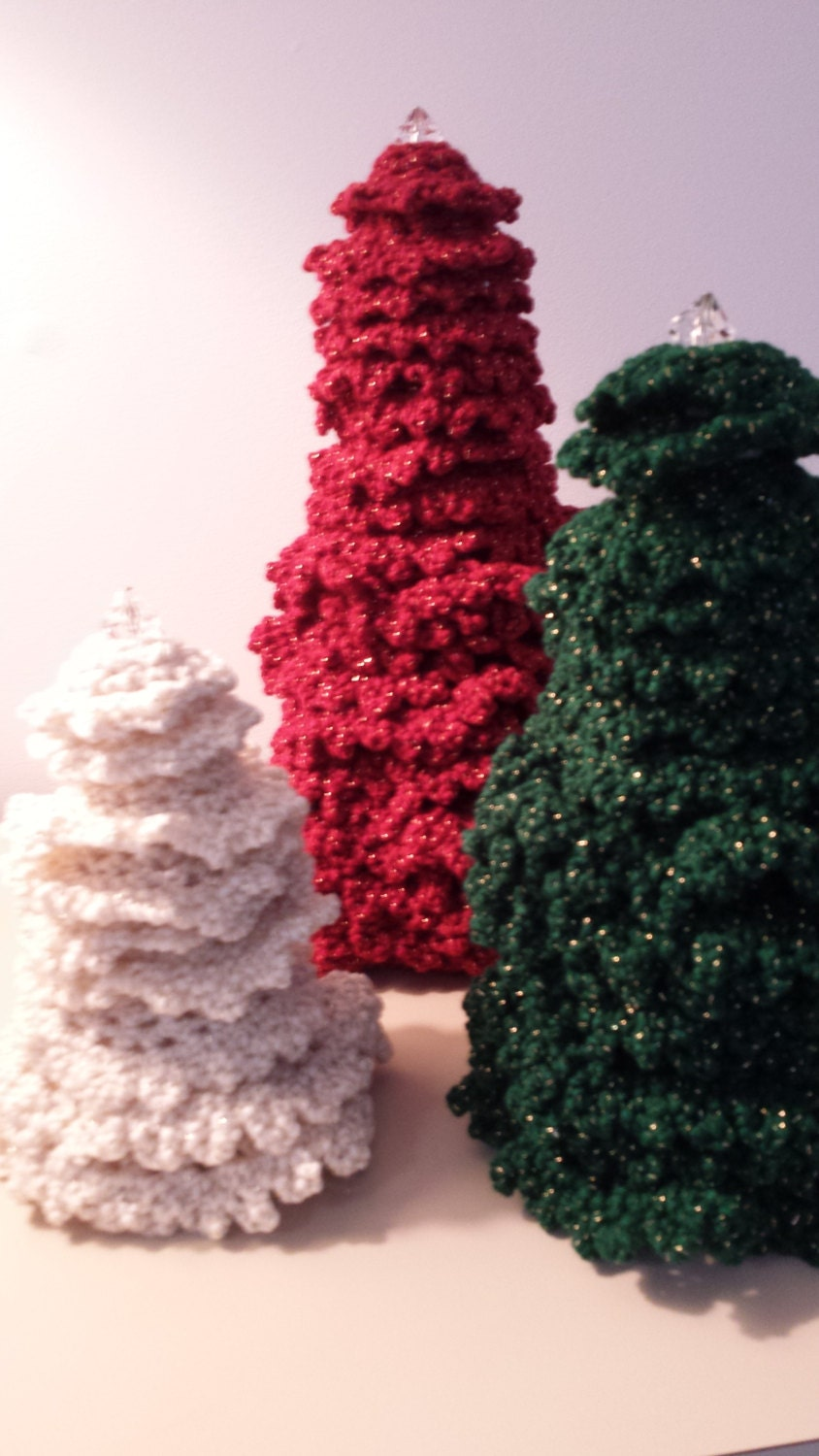 Christmas Tree Ornaments Crocheted - softtotouch