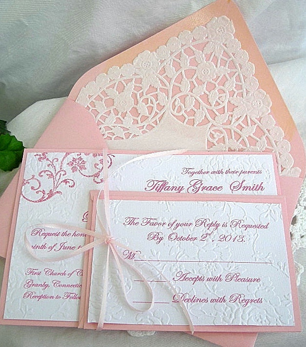 Items Similar To Doily Lace Wedding Invitation And