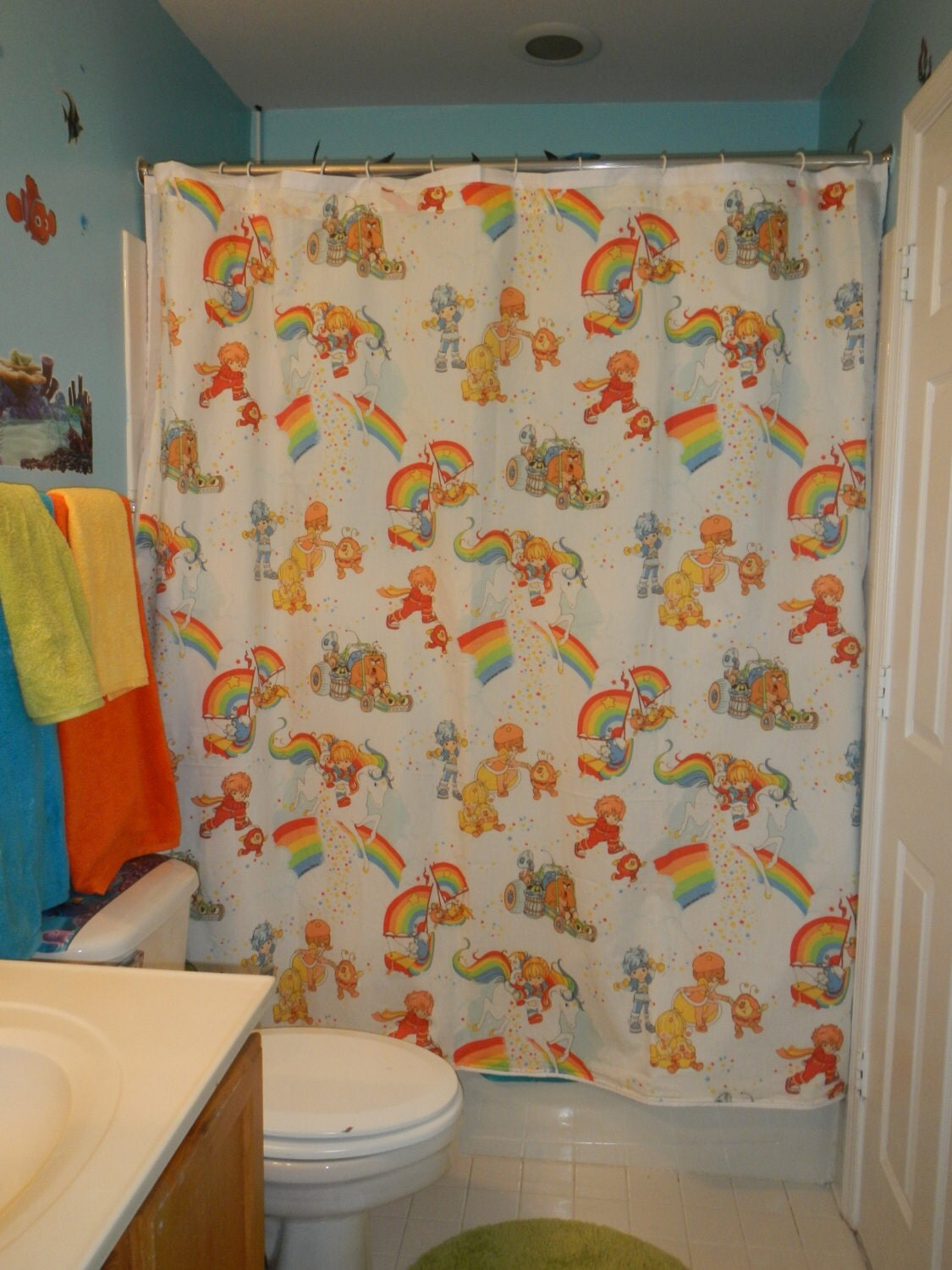 Shower curtain Made With Vintage rainbow Brite Bed Sheets