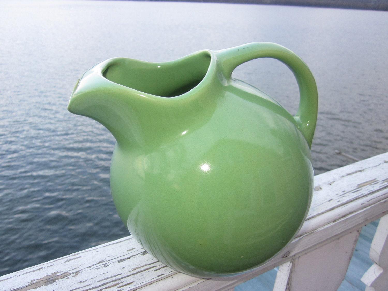 Hall Pottery Pitcher Green Ball Shape Vintage Pottery By