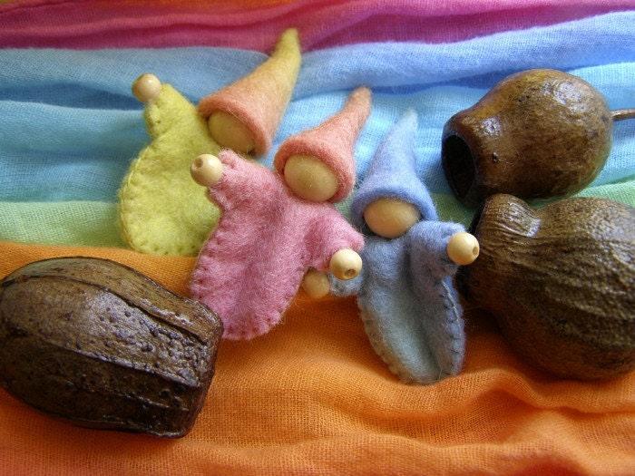 Gumnut Gnome Baby - A little felt gnome tucked gently into an Australian gumnut. - Rumpelfeltskin